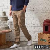 【JEEP】經典復古刷色洗舊口袋工作褲 (卡其)