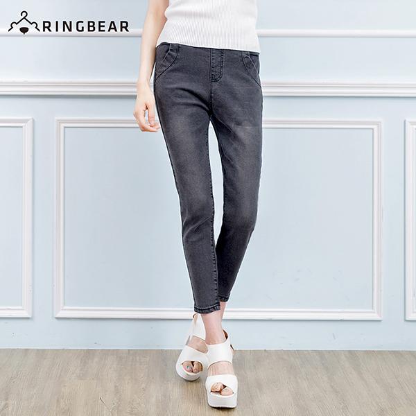 顯瘦--超纖瘦寬版鬆緊腰頭包覆超彈性美腿牛仔長褲(黑.藍S-5L)-N44眼圈熊中大尺碼