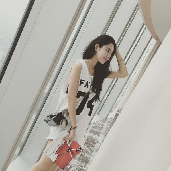 (全館免運) - 長款T恤學生寬鬆字母印花內搭衫簡約無袖【PP- 746】