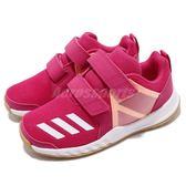 adidas 慢跑鞋 FortaGym CF K 粉紅 橘 緩震舒適 魔鬼氈 運動鞋 童鞋 中童鞋【PUMP306】 AH2561