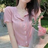 冰絲針織衫女短袖小香風薄款外搭開衫夏季鏤空甜美短款高腰上衣女