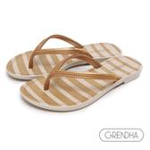GRENDHA 海洋風米黃條紋人字鞋-米色/金