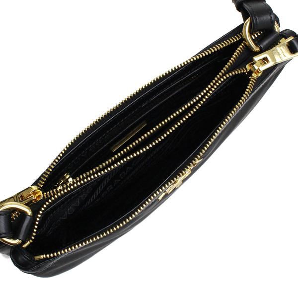 英國代購 PRADA 尼龍 雙拉鏈單肩包 黑色