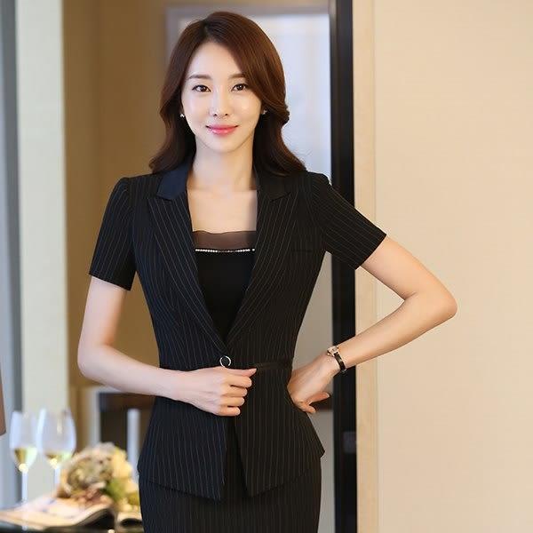 中尺碼*拼接翻領時尚條紋單釦OL短袖西裝外套~美之札