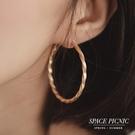 耳環 Space Picnic|霧面金屬麻花環狀耳環(預購)【C20037001】