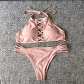 歐美新款分體bikini泳裝鏤空交叉性感聚攏顯瘦三角比基尼游泳衣女