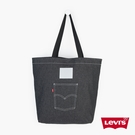 Levis 男女同款 丹寧托特包 / 經典後口袋設計 / 質感白皮牌