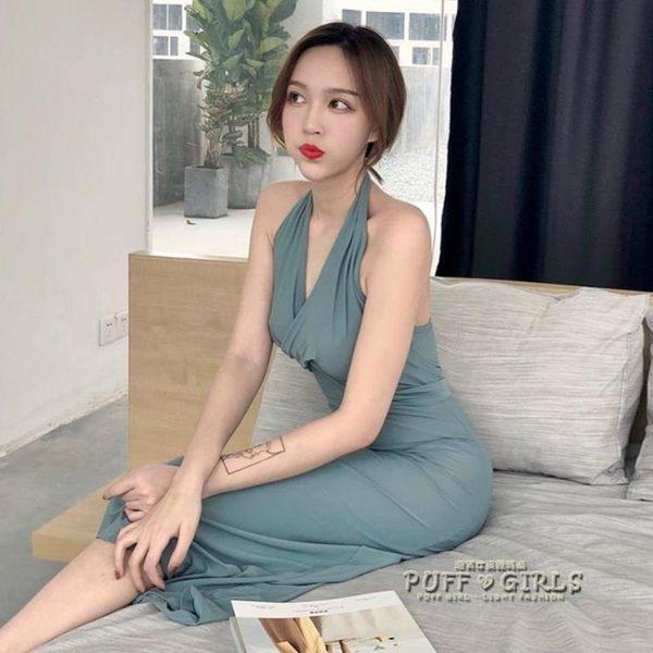 港味新款韓版藍灰色掛脖高腰綁帶復古簡約晚禮服修身顯瘦洋裝女