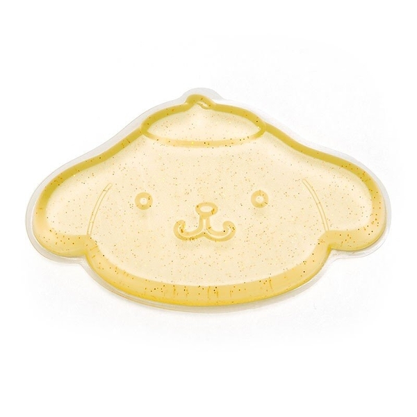 〔小禮堂〕布丁狗 造型透明矽膠粉撲《黃.亮粉》silicone puff 4901610-33462