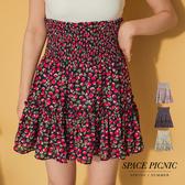 短裙 Space Picnic|高腰鬆緊小櫻桃雪紡短褲裙(現貨)【C19044079】