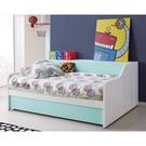 【森可家居】天天晴朗3.5尺單人抽屜床組 10JX357-1+2+4 床架+床邊側櫃+收納抽屜 兒童房 北歐風 MIT