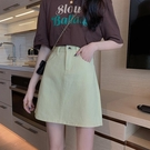 短裙 黑色裙子春裝2021年新款夏天顯瘦A字裙包臀裙高腰牛仔半身裙女夏