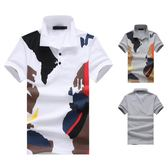 短袖polo衫【2件998】 新款平鋪男士歐碼潮流迷彩印花短袖T恤 POLO