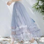 中大尺碼 韓版高腰顯瘦百搭A字百褶蓬蓬網紗半身裙 JA2340『時尚玩家』