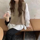 日韓秋冬新款 真兩件襯衫+針織背心 花漾小姐【預購】