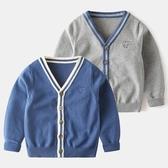 兒童針織開衫純棉洋氣寶寶V領毛衣薄款秋裝新款童裝男童針織外套 年底清倉8折