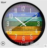 HICAT歐式創意木大號靜音掛鐘現代時尚客廳個性臥室石英時鐘錶『小淇嚴選』