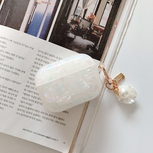 Airpods Pro 專用 1/2代 台灣發貨 [ 貝殼紋+貝殼珍珠掛飾 ] 藍芽耳機保護套 蘋果無線耳機保護