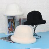 百搭卷邊小圓帽韓版潮秋冬季丸子帽小禮帽女純色兔毛針織兔毛帽子
