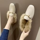 毛毛拖鞋女外穿2019秋冬新款馬銜扣兔毛穆勒鞋chic平底包頭半拖鞋 金曼麗莎