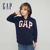 Gap男童 碳素軟磨系列 Logo法式圈織開襟連帽外套 762922-海軍藍