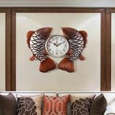 現代中式藝術客廳掛鐘創意靜音鐘表新中式個性餐廳掛表美式石英鐘 居享優品