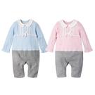 長袖連身衣 小圓領 假兩件 女寶寶 爬服 哈衣 Augelute Baby 70068