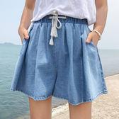(全館一件免運)DE SHOP~(GY-9174)高腰短褲熱褲學院風百搭百褶褲闊腿褲牛仔褲