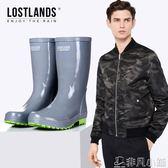 雨靴 手工橡膠中筒男士雨鞋防水防滑雨靴釣魚鞋水鞋膠靴素色潮膠鞋 非凡小鋪