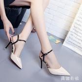 高跟涼鞋女夏季2020新款韓版一字扣尖頭細跟小清新高跟鞋包頭百搭女鞋 DR35015【美鞋公社】