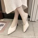 網紅高跟拖鞋女2020春季新款韓版尖頭外穿半拖鞋女百搭粗跟穆勒鞋 元旦狂歡購