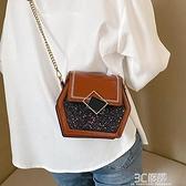 斜挎包 ins網紅流行洋氣包包女新款韓版時尚百搭寬帶單肩斜挎小方包 3C優購