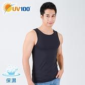 UV100 防曬 抗UV-涼感保濕圓領背心-男