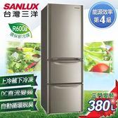 【SANLUX台灣三洋】380L直流變頻三門冰箱  SR-B380CVF