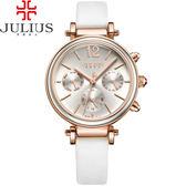 JULIUS 聚利時 LADY FIRST三眼設計皮錶帶腕錶-時尚白/34mm 【JA-958D】