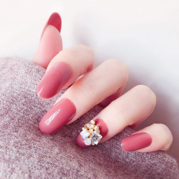 現貨~ NL226 豆沙紅寶石款穿戴美甲隨時摘戴插件風歐美新娘假指甲