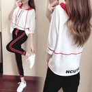 春秋新款休閒五分袖運動服長褲套裝女學生姐妹閨蜜網紅兩件套