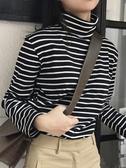 長袖上衣 高領條紋t恤女長袖寬鬆秋冬季正韓上衣純棉百搭修身打底衫女【快速出貨】