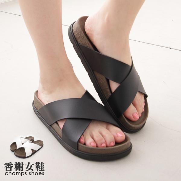 拖鞋。簡約休閒寬帶厚底拖鞋 香榭