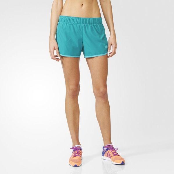Adidas MARATHON 10 女裝 短褲 慢跑 休閒 訓練 健身 瑜珈 藍綠 【運動世界】 AI8109