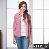 【JEEP】女裝 輕甜復古格紋長袖襯衫 (紅)
