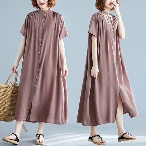 短袖連身裙-純色輕薄過膝休閒女洋裝7色73xz17【巴黎精品】