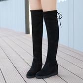 膝上靴 女士長筒靴子秋季2019新款韓版秋冬內增高學生絨面彈力過膝靴仙女 35-40