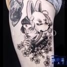 4張|暗黑殺手不太冷狐面面具人物花朵紋身貼 刺青貼【英賽德3C數碼館】