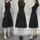 無袖洋裝 無袖小黑裙收腰黑色連身裙女裝2021新款中長款赫本夏季打底背心裙寶貝計畫 上新