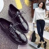 黑色小皮鞋女英倫風百搭學院韓版學生平底休閒皮鞋 免運