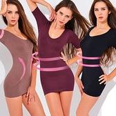 魔法e裳《短袖長版無痕塑身衣》3D超彈力*輕機能可當長版襯裙背心-D014