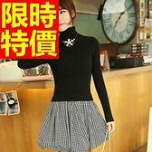 洋裝-假兩件時尚經典黑白格保暖高領羊毛連身裙3色63c41【巴黎精品】