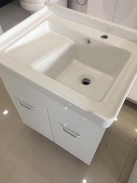 洗衣槽+浴櫃(收納)+水龍頭+所有配件 二用大槽面 寬62*深48*高83cm 防水PVC發泡板 品質超優外銷日本