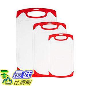 [106美國直購] plastic cutting board,dishwasher safe 3 piece kitchen cutting boards set (red)